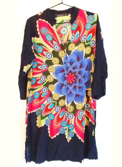 Camisa Algodon,larga Hindu Con Mandala Multicolor,talle L