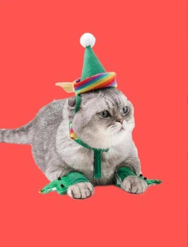Imagen 1 de 5 de Disfraz Navideño De Duende Para Gato