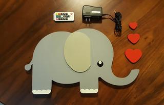 Cuadro Decorativo En Forma De Elefante Con Lampara Led Prende 20 Colores Con Control Remoto Rf
