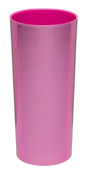 Kit 100 Copos Long Drink Metalizado Rosa Com Interior Pink