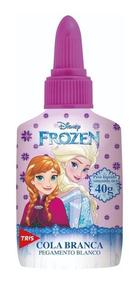 Cola Branca Escolar Frozen Com Lacre Protetor 40g Tris