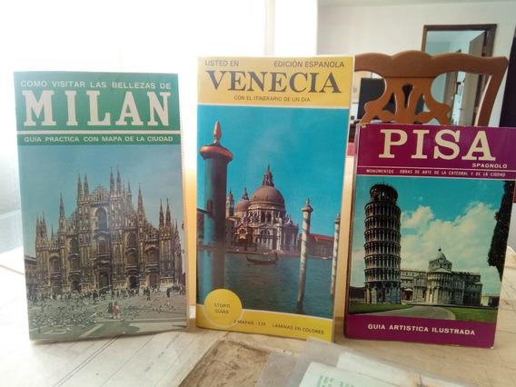 3 Folhetos Turísticos Antigos-milan, Veneza E Pisa Raros!