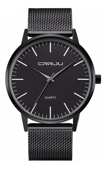 Relógio Ultra Fino Masculino Casual De Luxo Analógico Preto