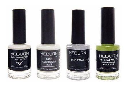 Kit Heburn 2 Esmaltes Base + 2 Top Coat ( Brillo Y Mate )