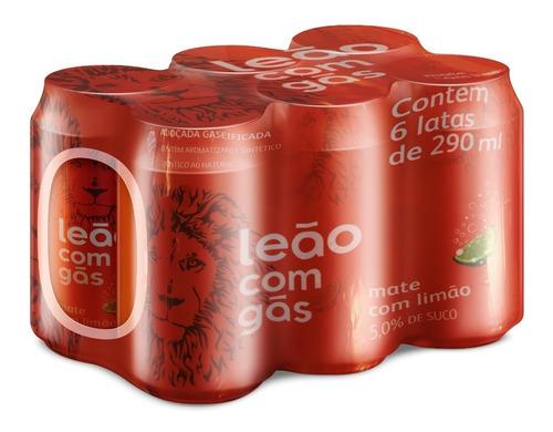 Chá Leão Com Gás Sabor Mate Com Limão - Pack 6 Latas 290ml