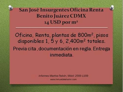 San Jose Insurgentes, Oficina Renta, Alvaro Obregon Df