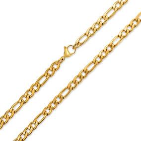 22437045ad57 7 Mm Oro Tono De Acero Acero Collar Figaro Enlace Cadena Par