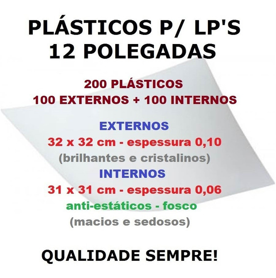 Vinil Lps - 200 Plásticos - 100 Externos 0,10 + 100 Internos