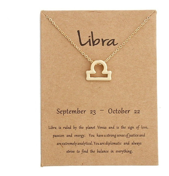 Hermoso Collar Signo Zodiacal Libra, Ideal Para Regalo