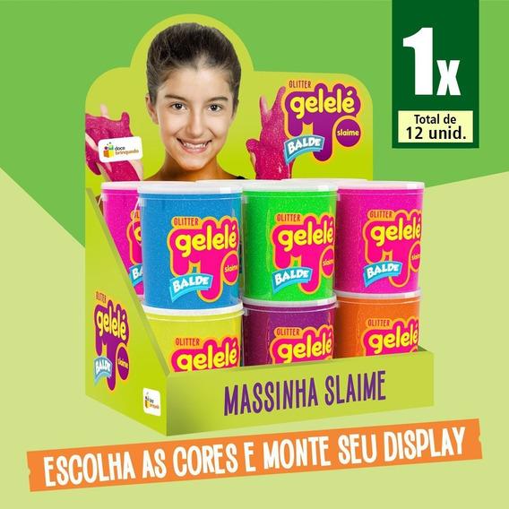Slime Gelele Glitter Balde C/12 457g Massinha Meleca