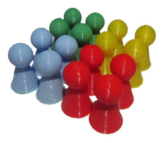 Conjunto 16 Pinos Peão Jogo Ludo Resta Um Reposição 4 Cores