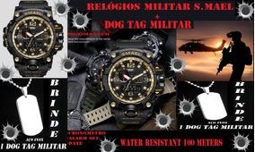 Relógio Militar Digital Analógico Anti Shock S.mael+dog Tag