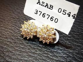 Brinco Ouro 18k Pequeno Flor/estrela Com Diamantes Naturais