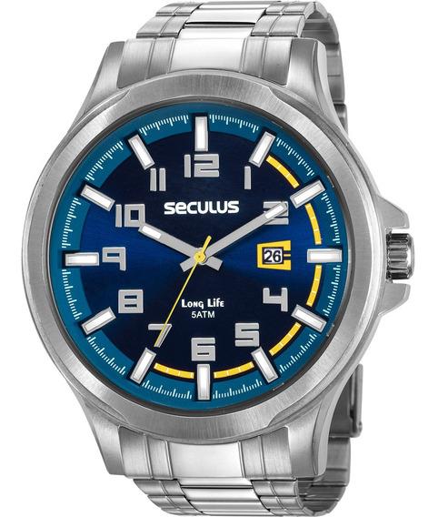 Relógio Masculino Seculus Prateado Long Life 20623g0svna3