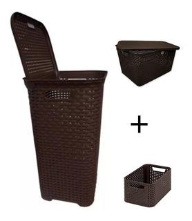 Cesto Bote Y 2 Canasta Organizador Plástico Rattan C/tapa