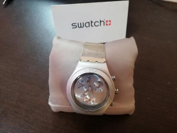 Reloj Swatch Para Dama De Aluminio Cronos Azules
