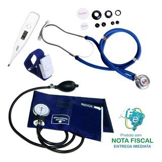 Kit Enfermagem Premium Esfig Esteto Azul Termômetro Garrote