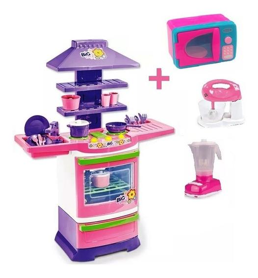 Cozinha Infantil Microondas Batedeira E Liquidificador
