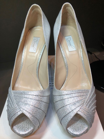 Sapato De Festa Cetim Prata | Tam 35 | Durval Calçados