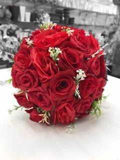 Buquê Artificial Casamento Festa De 15 Anos Vermelho
