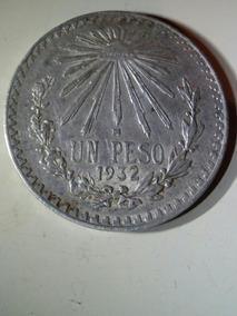 2 Monedas Antiguas Plata 1932 Resplandor Ley 0.720 1 Peso