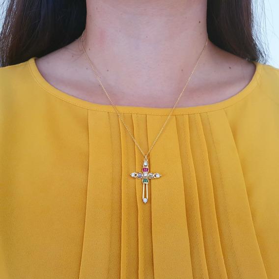 Collar Dije Cruz Lisa Para Mujer Especial , Buen Fin