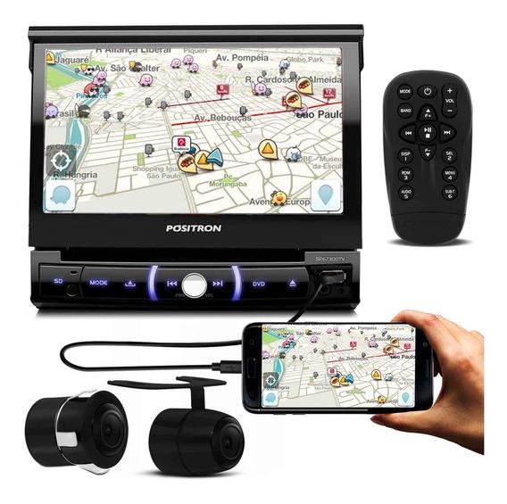 Dvd Player Pósitron Sp6730dtv 7 Polegadas Retrátil Bluetooth Espelhamento Tv Usb Aux Sd Fm Mp3 + Câmera De Ré 2 Em 1