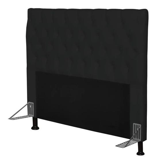 Cabeceira de cama box JS Móveis Cristal Casal 140cm x 126cm Couro sintético preta