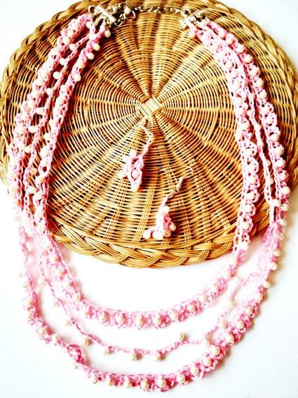 Collar Multiple Perlas Tejido Rosa Moda Dama Mujer Artesanal