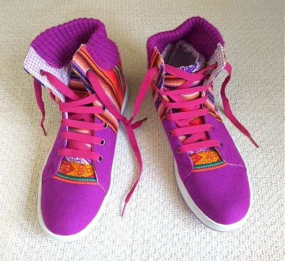 Zapatillas Botita Rústicas - Violeta - Talle 37