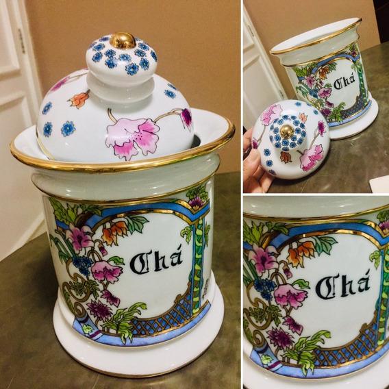 Pote De Porcelana Com Tampa Para Chá A Granel