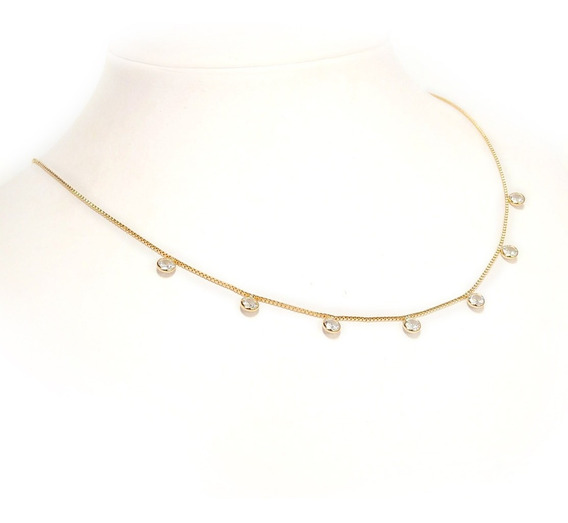 Choker Gargantilha Ponto Luz Tiffany Em Zirconia Banho Ouro