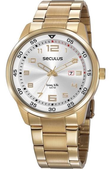 Relógio Masculino Dourado Luxo A Prova D