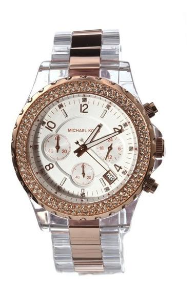 Relógio Michael Kors Chron Anal Gold Rosé Mk5323 Original