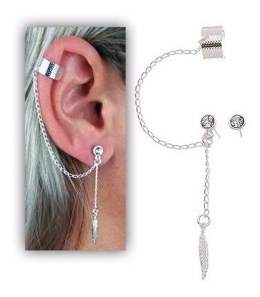 Brinco Ear Cuff Foleado A Prata Com Correntinha Strass Epena