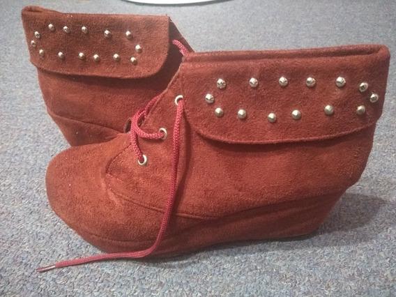 Botas Zapatos Mujer Gamuza Bordo