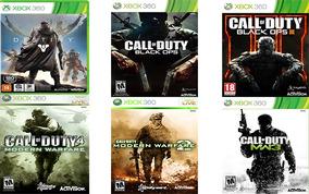 6 Jogos Xbox 360:destiny,cod: Mw 1,2 E 3, Cod: Bo 1 E Bo 3