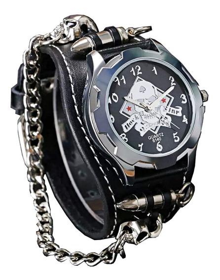 Relógio Aço Inox Pulseira Couro Caveira Esqueleto Corrente