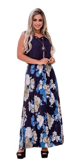 Vestido Feminino Midi Longo Estampado +colar Moda Evangelica
