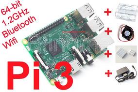 Kit Raspberry Pi3 (pi 3) Case Acr. Transp+cooler+diss.+fonte