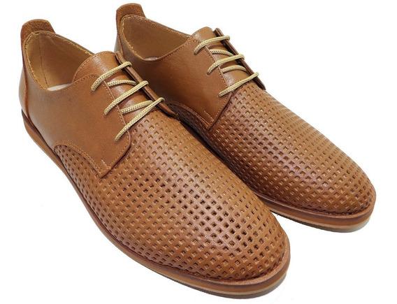 Zapato Hombre Picado Negro Cuero - Calzados Union- Art 972