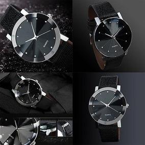 Relógio Analógico De Luxo Couro Sintético Fashion