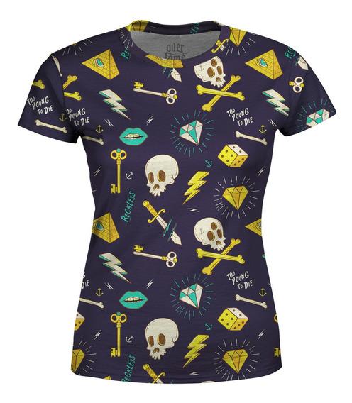 Camiseta Baby Look Feminina Hipster Tattoo Estampa Total