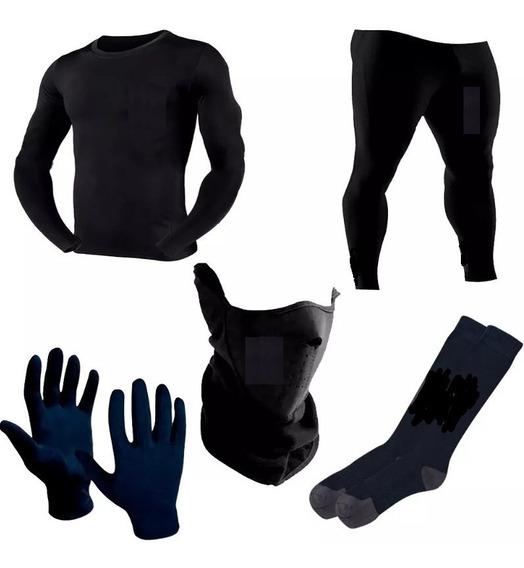 Kit Conjunto Termico 5p Remera Pantalon Guantes Cuello Media