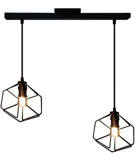 Lámpara Colgante De Techo Cubo Doble 2 Luces Hierro