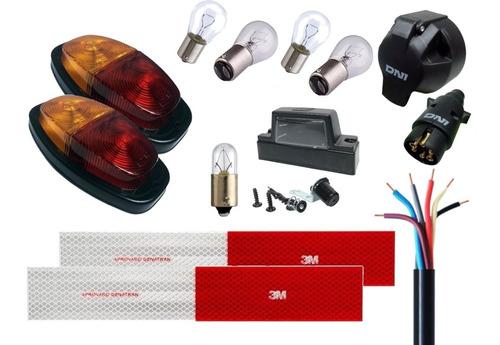 Imagem 1 de 10 de Kit Lanterna Sinalização Reboque Carretinha Chicote Tomada