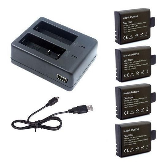 4 Baterias Pg 1050 + 1 Carregador P/ H8r H9r H3r E Sj