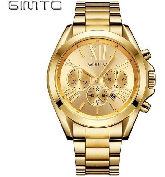 Relógio Gimto Gt0240 Gold Full Aço Inoxidável Feminino