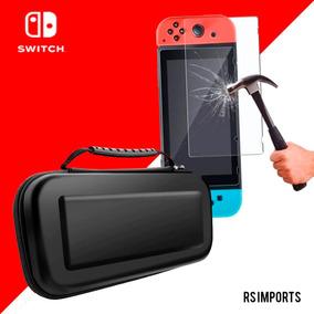 Case Capa Estojo Proteção Nintendo Switch + Pelicula Vidro