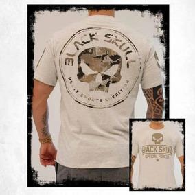 Tshirt Camiseta War Black Skull Bege E Cinza Mescla